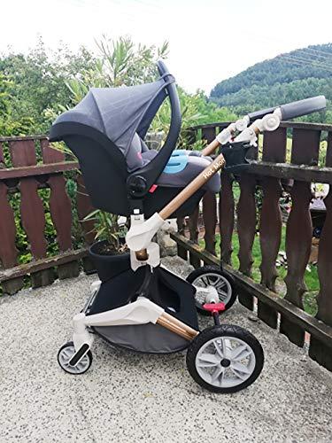 Hot Mom Silla de paseo Reversibilidad rotación multifuncional de 360 grados con buggy asiento y capazo 2020 Nueva actualización (Dark-3-ES)