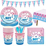 Amycute 114 Pezzi Kit Baby Shower Gender Reveal Stoviglie Boy or Girl, con Bicchieri di Carta, Tovaglioli di Carta, Piatti Carta,Tovaglia Rosa, Bandierina