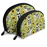Schnauzer Dog and Sunflower Summer Travel Portable Cosmetic Bags Organizer Set of 2 for Women Teens Girls