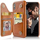 LOHASIC for iPhone Xs Max Wallet Case, 5 Card Holder Phone Cover, Classy Leather Portfolio to Business Men Elegant Women, Designer Flip Stand Magnet Pocket for Apple iPhone Xs Max (2018) 6.5 Brown