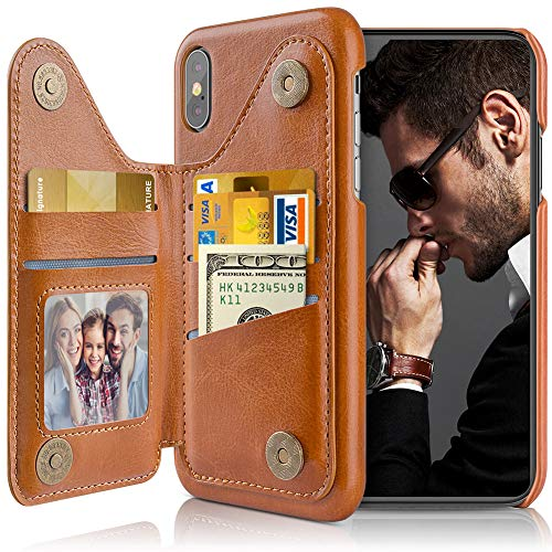 LOHASIC Designed for iPhone Xs Max Wallet Case Men, 5 Card Holder Phone Cover Women, Leather Stand Magnet Folio Portfolio, Classic Business Flip Pocket Compatible with iPhone Xs Max (2018) 6.5 Brown