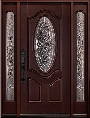 Fiberglass Entry Door with Glass Beautiful Flower Glass Stained Dark Mahogany (Right-Hand, Single Door with sidelight 12X36X12X80)