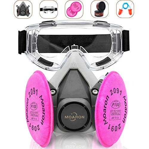 Reusable Half Facepiece Respirаtor, Respirаtor 6200 with 2091 Р100 Filter, Half Face Cover with Goggle, Professional Organic Steam Widely Used in Organic, Painting, Decorating