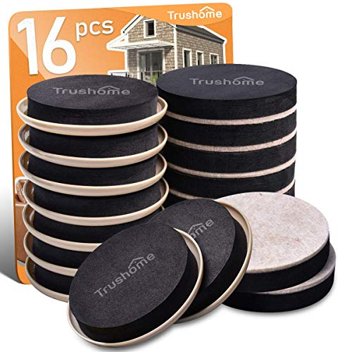 Furniture Sliders for Carpet and Hard Floor Surfaces, 16 Pack 3 1/2 inch Heavy Moving Pads Felt Furniture Movers, Reusable Heavy Duty Sliders - Protect Floors from Heavy Furniture, Easily Move Couches