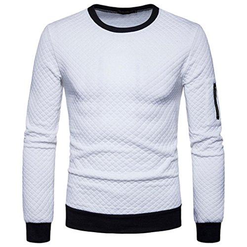 Sweatshirt Herren Longra Herren Sweatshirt Langarmshirt Pullover Männer Warm Herbst Winter Plaid Hedging Sweatshirt Tops Jacke Mantel Outwear (XL, White)