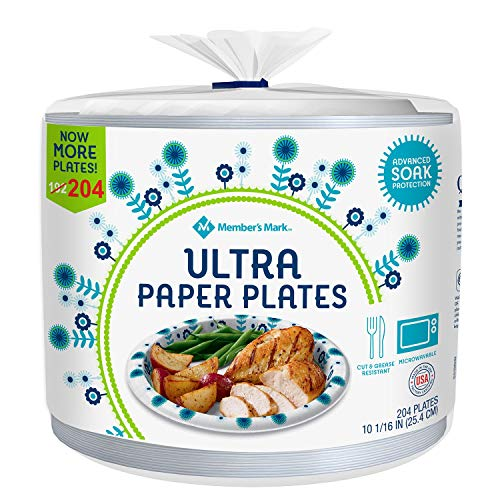 Members Mark 10 1/16 in Ultra Plates, White, Blue, Green, 204 Count (Pack of 36) (980076970)