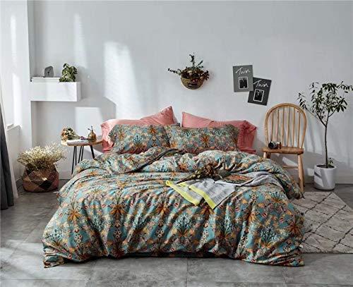Juego de funda de edredón de algodón egipcio sedoso, diseño de pájaros, 16, tamaño king 4 piezas, estilo sábana bajera ajustable