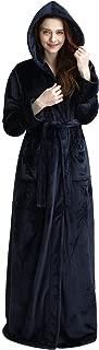 Womens Long Hooded Bathrobe Fleece Full Length Bathrobe with Hood Winter Sleepwear