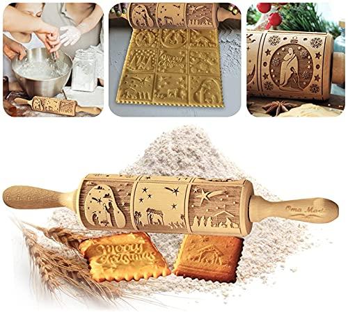 Rodillo de Amasar en Relieve para Navidad,Rodillo de Madera Cocina,Navidad Rodillo Amasar,rodillo para hornear galletas de Navidad (2PCS)
