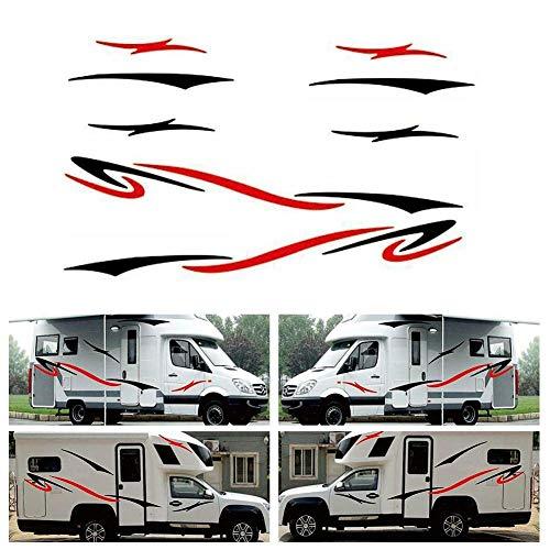 Adhesivos de vinilo para caravana, remolque, autocaravana, autocaravana, color negro y rojo