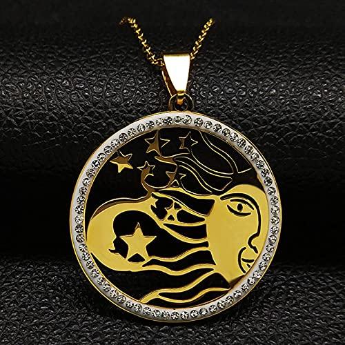DOOLY 2021 Collares Bohemios de Acero Inoxidable con Luna y Sol para Mujer, Collar de Amuleto Bohemio de Cristal Redondo de Color Dorado para Mujer, Colgante de joyería