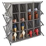mDesign Zapatero ancho para el pasillo o armario – Mueble zapatero plegable con 16 compartimentos en 4 niveles – Amplio organizador de zapatos de metal y tela – gris pizarra y plateado