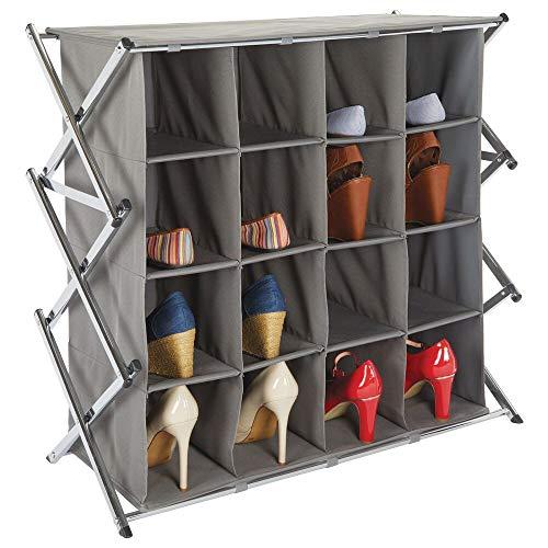 mDesign - Schoenenrek voor gang of kast - breed/inklapbaar/ruim/metalen rek met 4 etages/16 stoffen vakken - donkergrijs/chroom