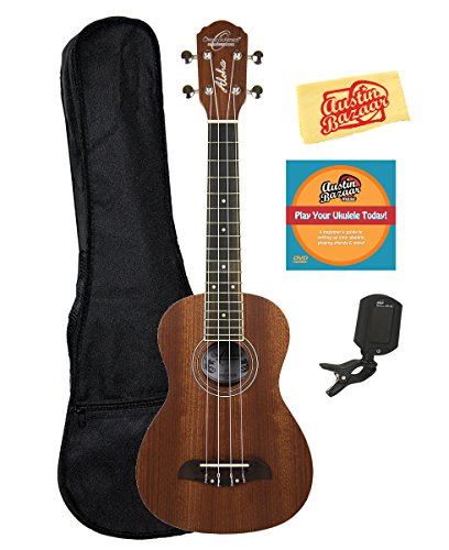 Oscar Schmidt OU2LH Left-Handed Mahogany Concert Ukulele Bundle with Gig Bag, Austin Bazaar Instructional DVD, Clip-On Tuner, and Polishing Cloth