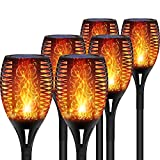 DIKAIDA 6-Pack Solar Torch Lights, 96 LEDs Waterproof Flickering Flames, 2200mAh Solar Flame Light, Led Tiki Torches, Dusk to Dawn Dancing Flame Lights