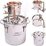 Fayelong Destilador de agua de 2 galones/10 litros de alcohol de cobre Moonshine Stills para hacer vino kit de fermentación para DIY Whisky vino Brandy Vodka