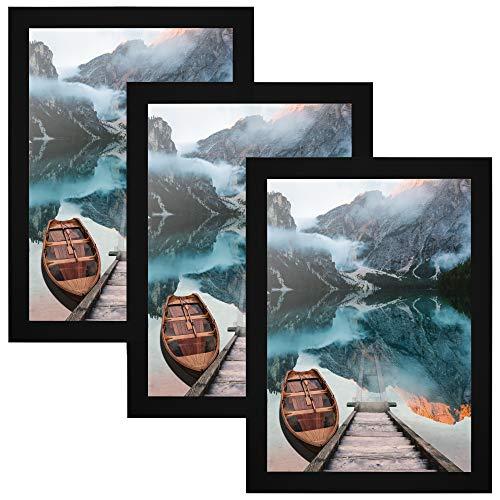 CABBEL 3er Set Bilderrahmen DIN A4 21x30 MDF Holz-Rahmen mit bruchsicherem Acrylglas, ideal für Collagen, Portraits & Urkunden in Schwarz