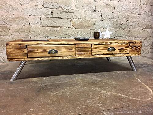 """Palettenmöbel Couchtisch mit Schubladen in Europaletten Stil """"Tucson"""" geflammt Edelstahl Füße"""