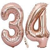 Ouceanwin 2 Ballons Numéro 34 Or Rose, Géant Ballon Chiffre 34 Numero Ballons Feuille 40 Pouces Helium Ballons Gonflable pour 34 Ans Anniversaire Décorations de Fête Filles (100cm)