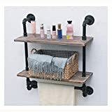 DSFGS Rustikales Pfeifenregal Holzregal mit Handtuchhalter,Rohr-Schwimmregale 24' Industrierohr-Badezimmer-Wandregale mit Handtuchhalter,Black