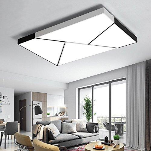 Plafonnier Moderne Rectangle LED, Lampe de Salon Nordique Chambre Lumière Creative Lighting Accueil Atmosphère (Couleur : Lumière Blanche, Taille : 90 * 60cm)