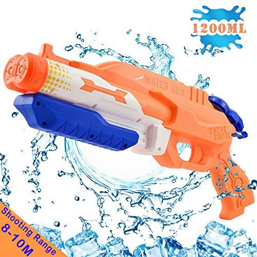 Addmos Wasserpistole mit doppelter Spritzpower Spielzeug für Kinder mit Langer Reichweiter Freezefire für Kinder Mädchen Junge ab 3 Jahr 10-12 Meter Reichweiter 1200ML XXL