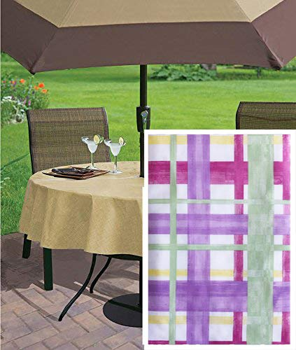"""Newbridge Watercolor Easter Plaid Print Vinyl Flannel Backed Tablecloth - Lavender, Green and Yellow Contemporary Pastel Spring Plaid Indoor/Outdoor Print Tablecloth – 70"""" Zippered Umbrella Round"""