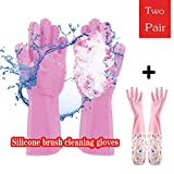 2 Pair of Rubber Scrubbing Gloves for Dishes, BLAUE Reusable Silicone Dishwashing Gloves, Wash Cleaning Gloves with Sponge Scrubbers for Washing Kitchen, Bathroom, Car & More