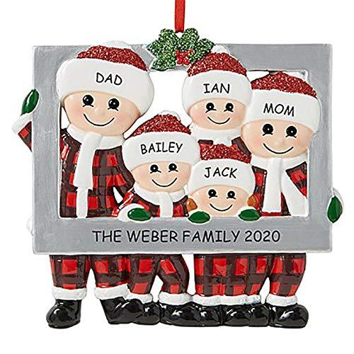 Aoliao Christmas Tree Ornament 2020 Quarantine Family Xmas Decoration Customized Family Members Name DIY Gift