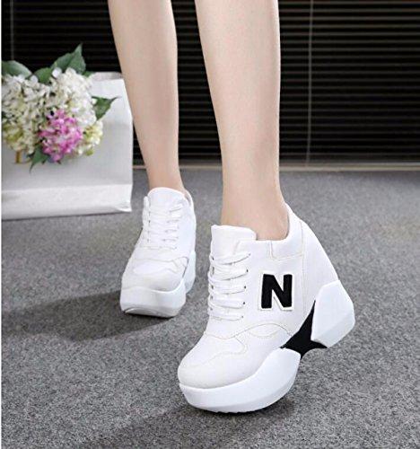 GTVERNH Zapatillas de tacón alto para mujer, verano/primavera, 10 cm, zapatillas de esponja para tarta, altura interior, zapatos individuales invisibles, negro, 39
