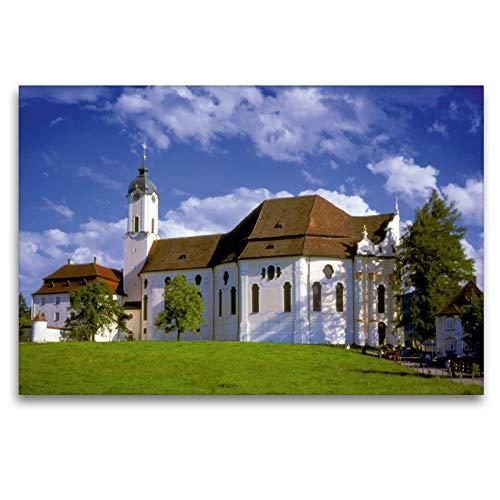 Calvendo Premium Textil-Leinwand 120 cm x 80 cm quer, Wallfahrtskirche Die Wies, Kunstwerk...
