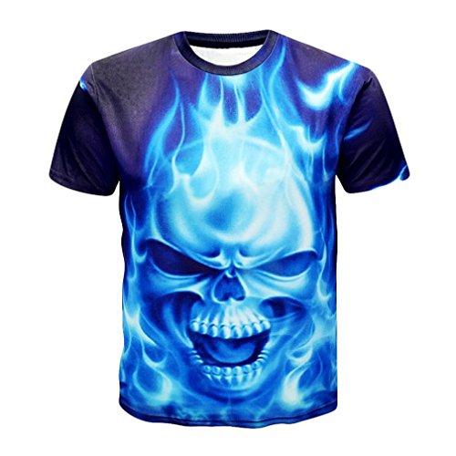 Camiseta para Hombre,RETUROM Camisa de Manga Corta de la Camiseta de la Manga de la Camiseta de la impresión del cráneo 3D para Hombre (2XL)