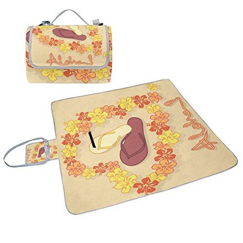 Coosun Hawaii Blumen Girlande Flip Flops Box Picknick-Decke mit Matte Schimmel resistent und wasserdicht Camping-Matte für rving, Picknickdecke, Strand, Wandern, Reisen und Ausflüge