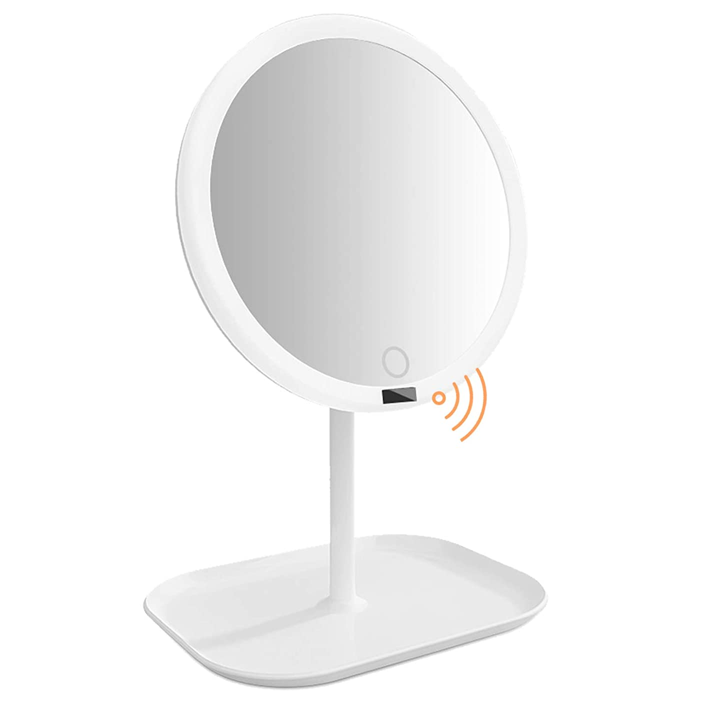 助けてきょうだいチップAMZTOLIFE 化粧鏡 鏡 卓上 卓上ミラー 女優ミラー スタンドミラー「ledライト付き 人感センサー搭載 無階段明るさ調節可能 360度回転 USB充電式」直径20.3cm 日本語取扱説明書付き (ホワイト)