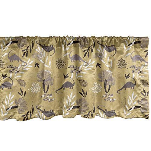 ABAKUHAUS Botanisch Fenster Volant, Jurassic Motiv Erdton, Vorhang Volant für Küche Schlafzimmer Dekor mit...