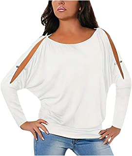 MOHOLL Women Summer T Shirt Cold Shoulder Short Sleeves O-Neck Loose Fit Tie up Back Tee Pullover Casual Top Multi Color