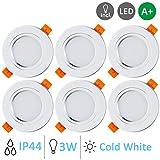 Gr4tec 6x LED Spots Encastrables, Spot Intégrée Lampe de Plafond avec Transformateur Rond Blanc Froid Plafonnier Encastré 3W 300lm Equivalente de 30W d'éclairage 220V 6000K IP44 RA80 Non Dimmable