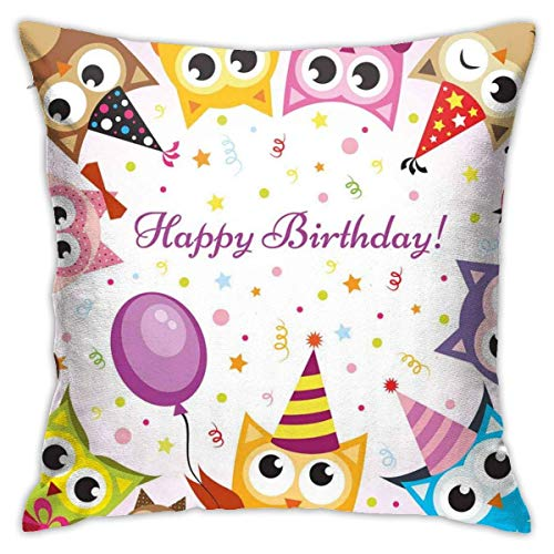 Lsjuee Polyester Throw Pillow Case Cushion Cover Birthday Party Owl Family with Colorful Cone Hats On Backdrop Sofa Home Decorative (18x18 inch/ 45x45cm)