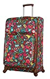 Lily Bloom Luggage Large Expandable Design Pattern Suitcase With Spinner Wheels For Woman (Playful Garden, 28in)