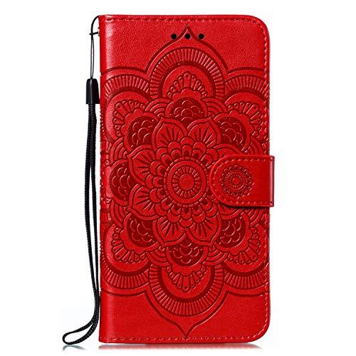 Tosim Coque Huawei Mate 30 Lite/Nova 5i Pro, Portefeuille Étui en Cuir Synthétique Fonction Stand Case Housse Folio à Rabat Compatible avec Huawei Mate30 Lite - TOEBE030519 Rouge