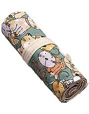 QooFit 色鉛筆収納バッグ 帆布 巻き型 48穴 鉛筆ホルダー 色鉛筆なし(かわいい貓柄)