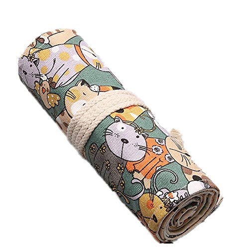 QooFit 色鉛筆収納バッグ 帆布 巻き型 72穴 鉛筆ホルダー 色鉛筆なし(かわいい猫柄)