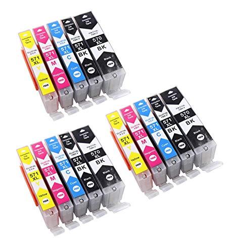Printercartridges met chip compatibel met Canon PGI-570 CLI-571 geschikt voor Canon Pixma printers MG-5700 MG-5750 3 Schwarz, 3 Photo Schwarz, 3 Cyan, 3 Magenta,3 Gelb