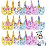 Osuter 24 Piezas Máscaras de Animales Bello Unicornio Máscaras de Fiesta para Halloween Navidad Cosplay Cumpleaños Fiestas