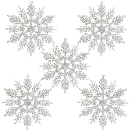 Naler 24 Copo de Nieve Plástico Colgante Adorno Blanco con Purpurina Decoración para Árbol de Navidad (10,5cm)