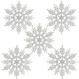 Naler 24 x Schneeflocken Weihnachten Deko für Weihnachtsbaum Glitzer Weiß Weihnachtsbaumschmuck