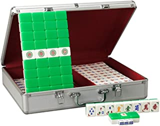 ZHLJ Acrylic Guangdong Vietnamese Mahjong Green Rice White Portable Home Travel Entertainment Educational Toys with Aluminum Storage Box Mahjong (Color : Green (Guangdong Mahjong))
