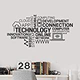 XIAOHUKK Etiqueta engomada de la pared del vinilo de la letra tecnológica Empresa Innovación en Internet Nube de palabras Etiqueta de la pared de la oficina Decoración moderna para el hogar