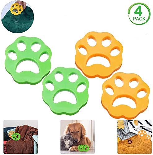 4 Stück Haustiere Haarentferner,Tierhaarentferner Fusselpfoten,wiederverwendbare Haarentfernung für Waschmaschine Wäsche Flusen für Hundehaar Katzenfell und alle Haustiere