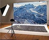 Fondo de vinilo de montaña de 7 x 5 pies para fotógrafos, escenas de montaña nevada bajo el cielo, invierno desierto naturaleza sin troddden fondo para decoración del hogar, Outdoorsy tema Shoot Props